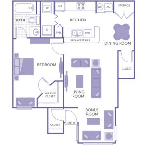 1 bed 1 bath floor plan, kitchen, dining room, living room, bonus room, 1 walk-in closet, 2 closets, 1 storage closet, washer and dryer in unit